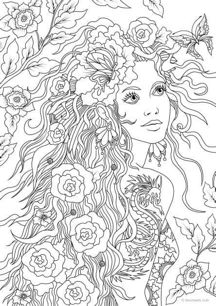 Girl with a Tattoo - Printable Adult Coloring Pages from Favoreads