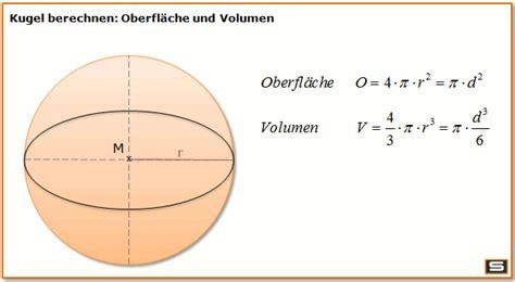 kugel berechnen  kugelvolumen kugeloberflaeche formel