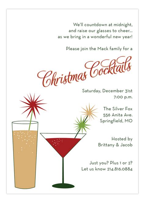Christmas Cocktails Invitation For The Holidays Polka