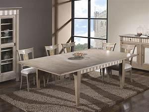 table de salle a manger carree en chene avec une allonge With meuble de salle a manger avec table de salon carrée
