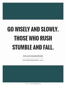 Go wisely and slowly. Those who rush stumble and fall ...