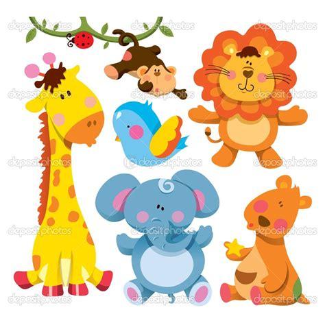 cartoon baby animals cute animal collection stock