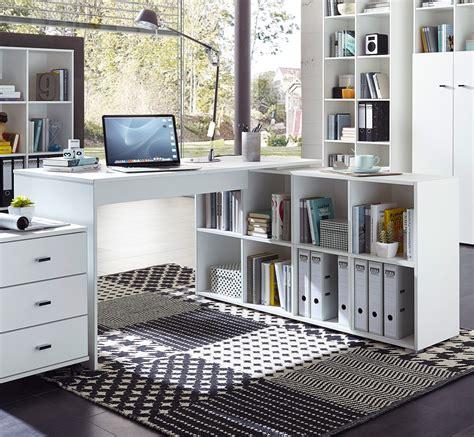 bureau avec rangements bureau d 39 angle contemporain avec rangement coloris blanc