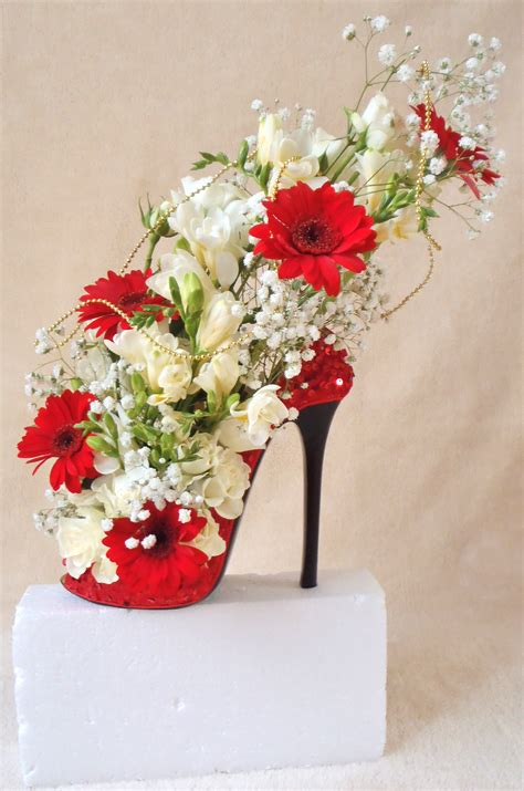 floral displays beautiful shoe design used as wedding display in different colour shoes flowers unique floral