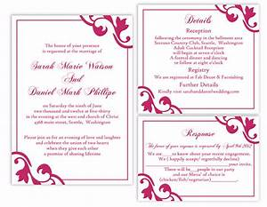 Diy wedding invitation template set editable word file for Wedding invitation designs fuchsia pink
