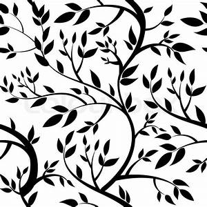 Seamless wallpaper - black leaves Stock Vector Colourbox