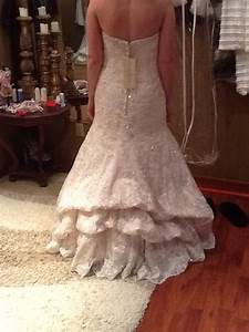 waterfall bustle lace fit and flare wedding gown wedding With wedding dress bustle types