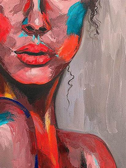 Abstract Painting Face Portrait Woman Emotional Impasto