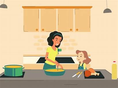 Cooking Kitchen Mom Cook Animation Lockdown Oil