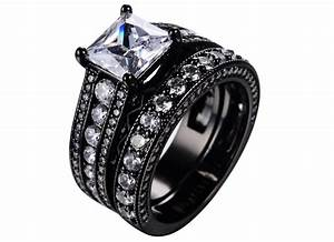 womens black wedding ring sets With black wedding rings women