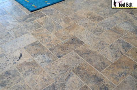 Groutable Vinyl Floor Tiles Home Depot by Silver Travertine Tile Herringbone Floor Tutorial Her