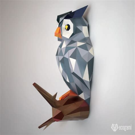 papercraft owl   branch