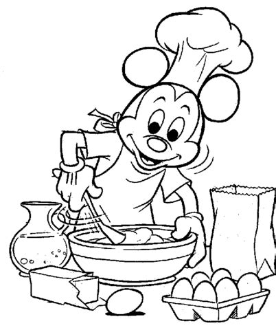 mickey  cooking coloring page supercoloringcom