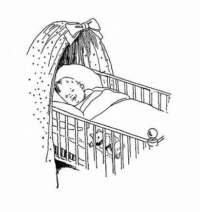 Crib Drawing Sleeping Sketch Cot Digital Drawings