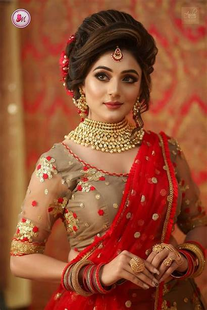 Bridal Round Face Makeup Hairstyle Indian Bride
