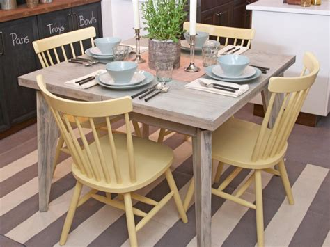 yellow kitchen table and pale yellow painted wooden kitchen chairs and distressed