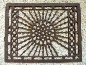 antique vintage cast iron floor furnace grate wall