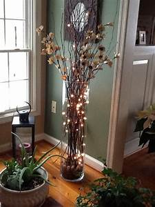 Large Vase With Twigs Lights Silk Flowers Home