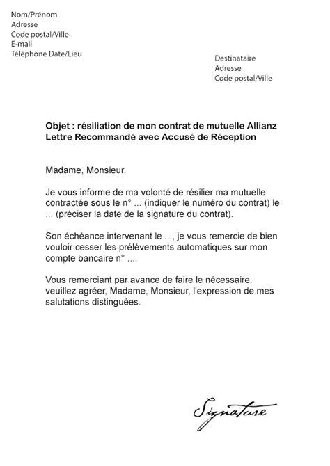adresse siege social allianz lettre de résiliation mutuelle allianz modèle de lettre