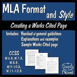 Mla Format Works Cited Page Mla Format And Style Handouts And Sample Works Cited Page