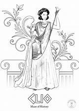 Greek Coloring Mythology Muses Nine Goddesses Roman Gods Goddess Illustrated sketch template