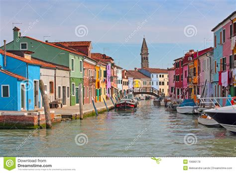 Boat Dealers Near Venice by Blue Boat And Reflection Burano Italy Royalty Free Stock