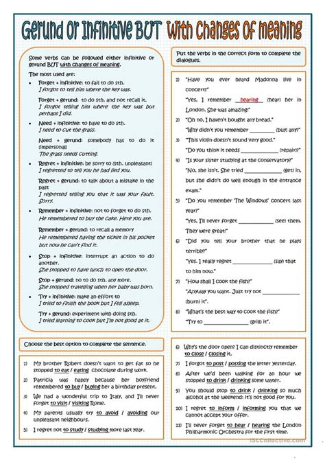 18 Free Esl Gerund And Infinitive Worksheets
