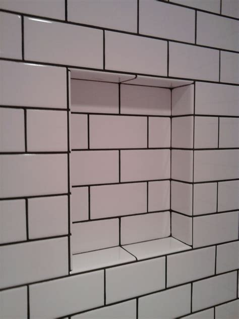 Black White Subway Tile with Grout