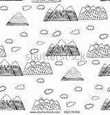 Kirkjufell Coloring Mountain Designlooter Primitive Clouds Seamless Drawn Mountains Decorative Landscape sketch template