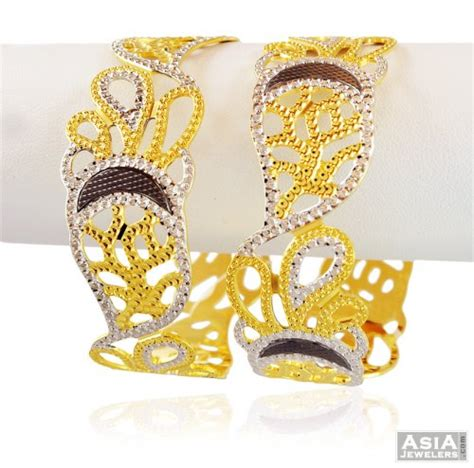 exclusive multi tone 22k kada ajba58964 us 4 632 22k gold designer kadas 2 pc