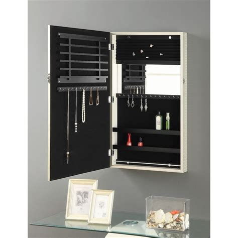 wall jewelry armoire coaster wall mount jewelry armoire mirror in chagne