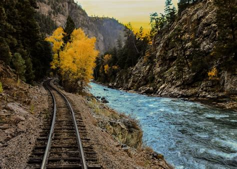 images landscape mountain track train river