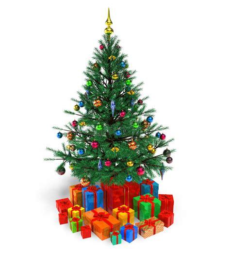 weihnachtsbaum kostenlos verzierter weihnachtsbaum mit geschenken stock abbildung