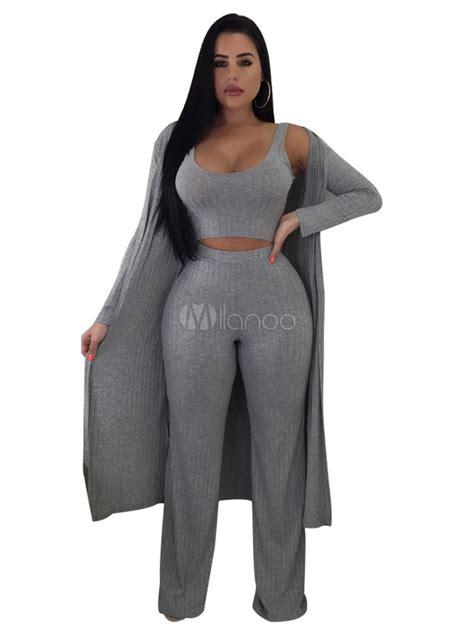 piece outfit women sexy crop top wide leg pants