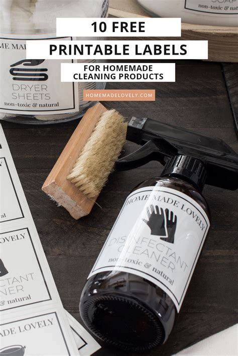 10 Free Printable Labels for Homemade Cleaning Products
