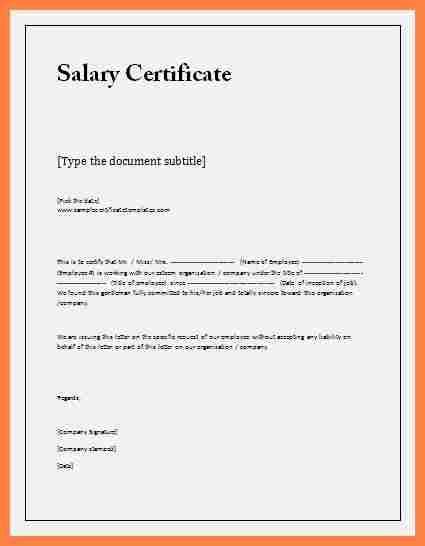 salary certificate letter format word salary slip
