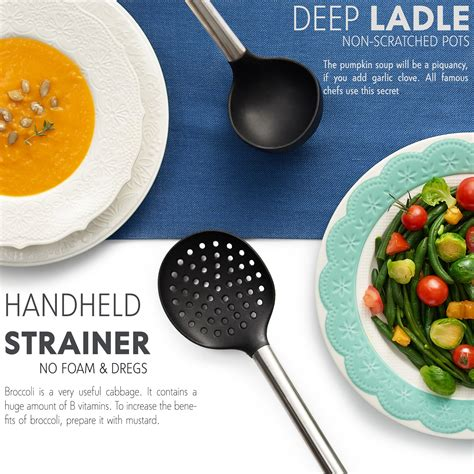 kitchen silicone utensils cooking utensil steel stainless tools nonstick spatula spoon tongs pans 8pcs pasta whisk serving server pots lecluse