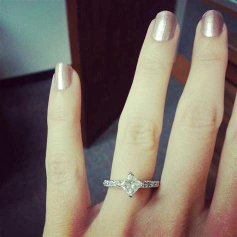 engagement ring princess cut   kite setting  love