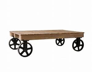 Roue Table Basse : table basse chariot roulettes indus vical home ~ Teatrodelosmanantiales.com Idées de Décoration