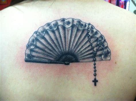 fan tattoo spanish fan rosary