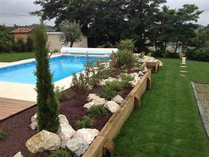Amenagement tour de piscine pools pinterest swimming for Idee amenagement jardin paysager 4 amenagement paysager autour dune piscine classique