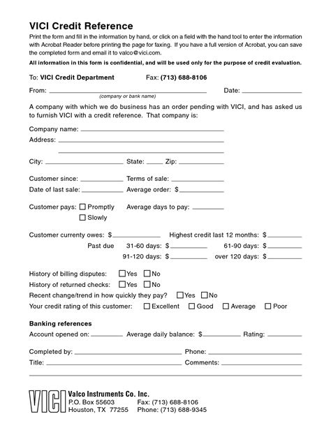 Business Credit Reference Form Template
