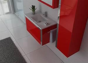 Meuble Simple Vasque : meuble de rouge pour salle de bain meuble de salle de bain 1 vasque 90 cm dis025 900 distribain ~ Teatrodelosmanantiales.com Idées de Décoration