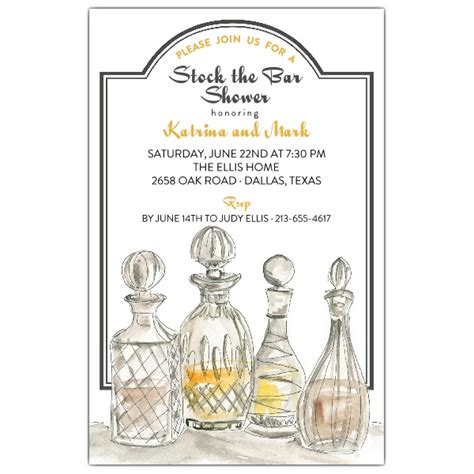 Stock The Bar Shower Fancy Decanter Stock The Bar Shower Invitations Paperstyle