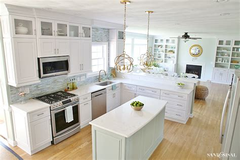 Coastal Kitchen Makeover  The Reveal. Kitchen Corner Countertop. Dear Lillie Kitchen Makeover. White Kitchen With Grey Backsplash. Light Blue Kitchen Rug. Kitchen Bar Towels. Kitchen Furniture Set. Yellow Colour Kitchen. Kitchen Plants India