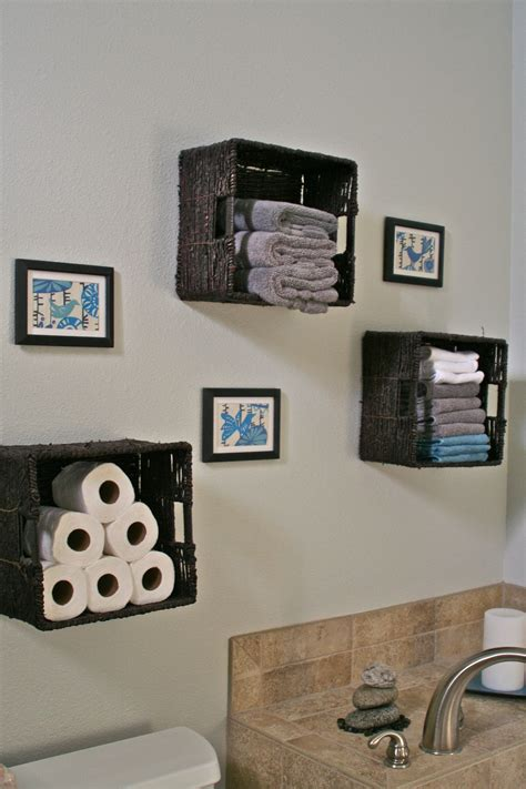 bathroom storage baskets  towels toilet paper