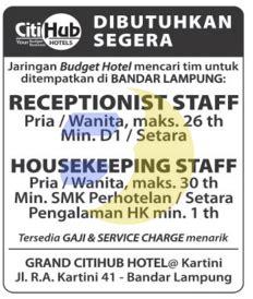 karir kerja hotel citihub terbaru  info lowongan