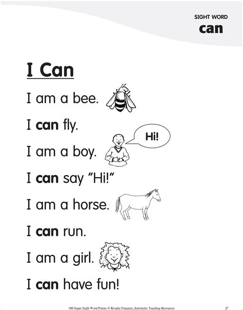 Sight Word Poem For Can  Sight Word Poems & Activities