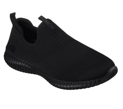 mens skechers elite flex wasik flat knit slip  black