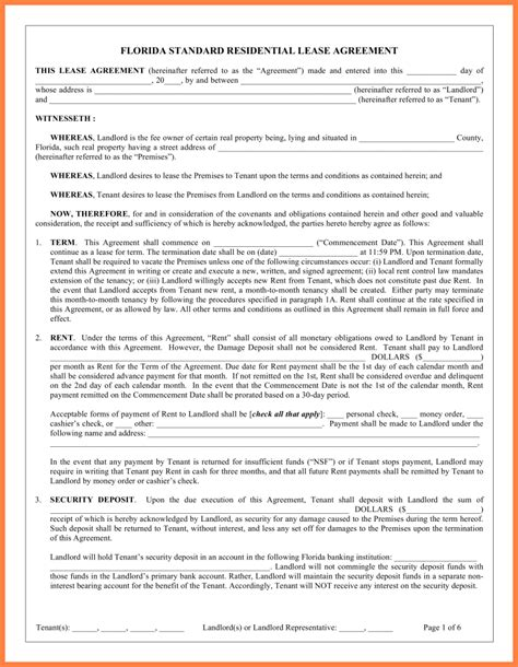 florida residential lease agreement word document
